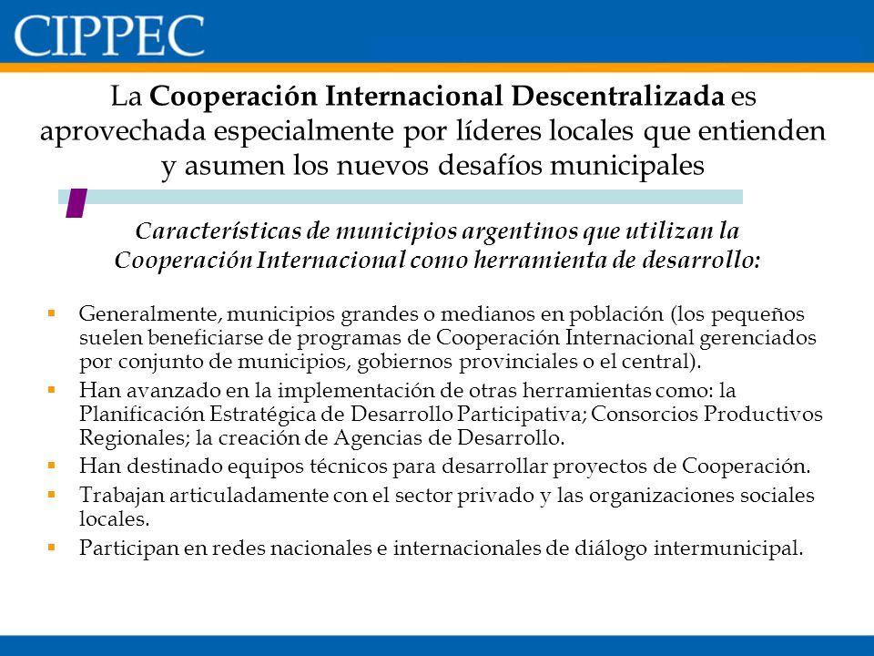 Características de municipios argentinos que utilizan la Cooperación Internacional como herramienta de desarrollo: La Cooperación Internacional Descen