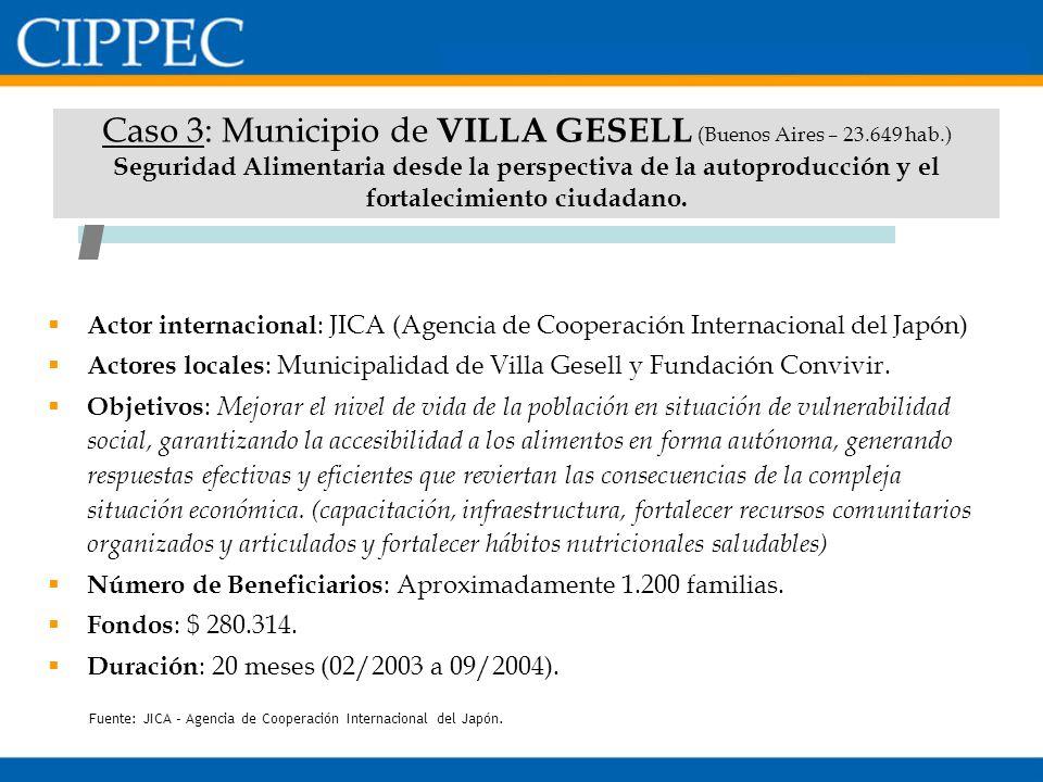 Caso 3: Municipio de VILLA GESELL (Buenos Aires – 23.649 hab.) Seguridad Alimentaria desde la perspectiva de la autoproducción y el fortalecimiento ci
