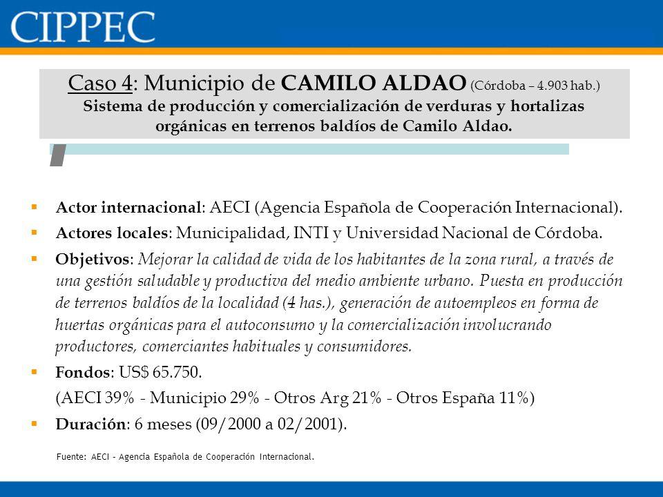 Caso 4: Municipio de CAMILO ALDAO (Córdoba – 4.903 hab.) Sistema de producción y comercialización de verduras y hortalizas orgánicas en terrenos baldí