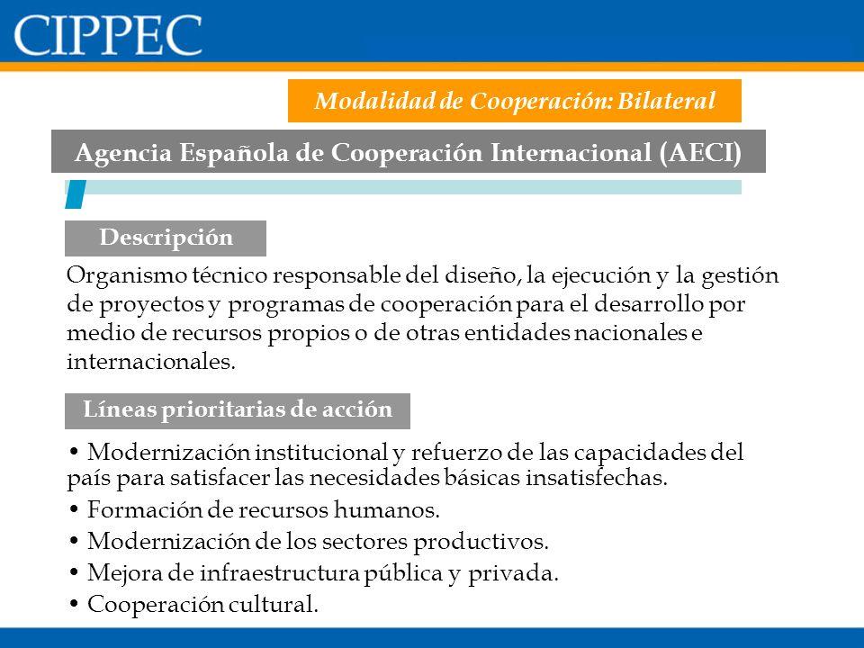 Agencia Española de Cooperación Internacional (AECI) Modernización institucional y refuerzo de las capacidades del país para satisfacer las necesidade