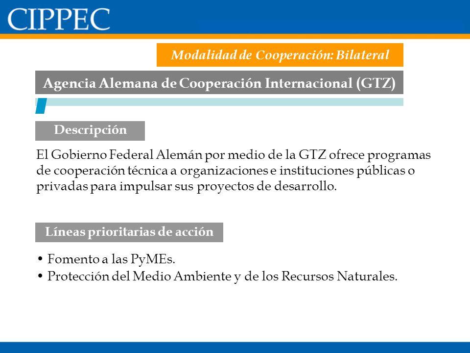 Agencia Alemana de Cooperación Internacional (GTZ) Fomento a las PyMEs. Protección del Medio Ambiente y de los Recursos Naturales. Líneas prioritarias
