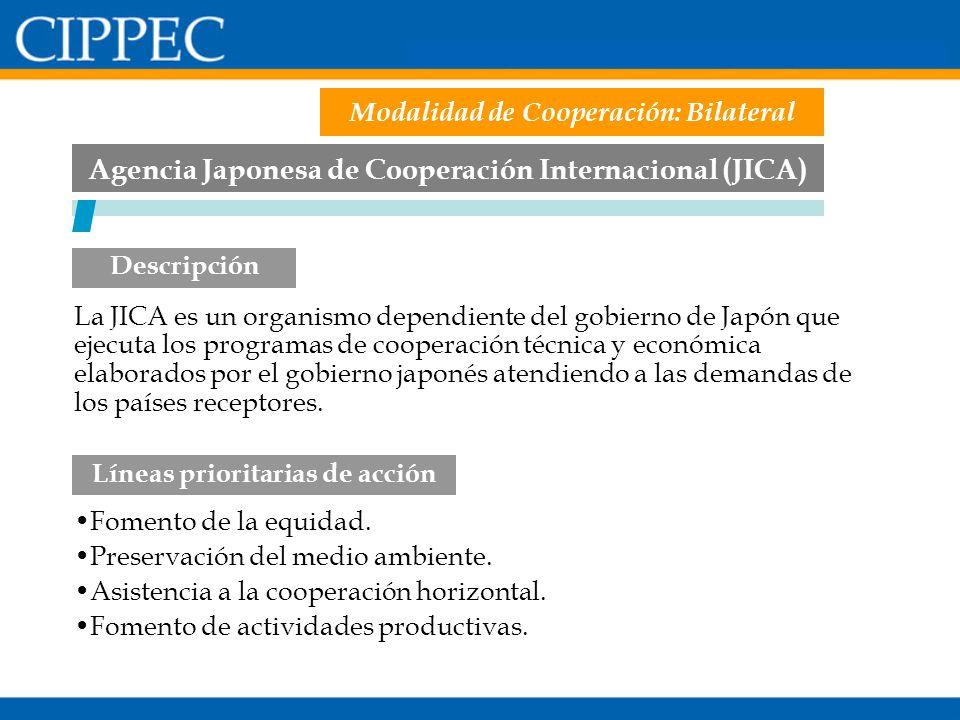 Agencia Japonesa de Cooperación Internacional (JICA) Fomento de la equidad. Preservación del medio ambiente. Asistencia a la cooperación horizontal. F