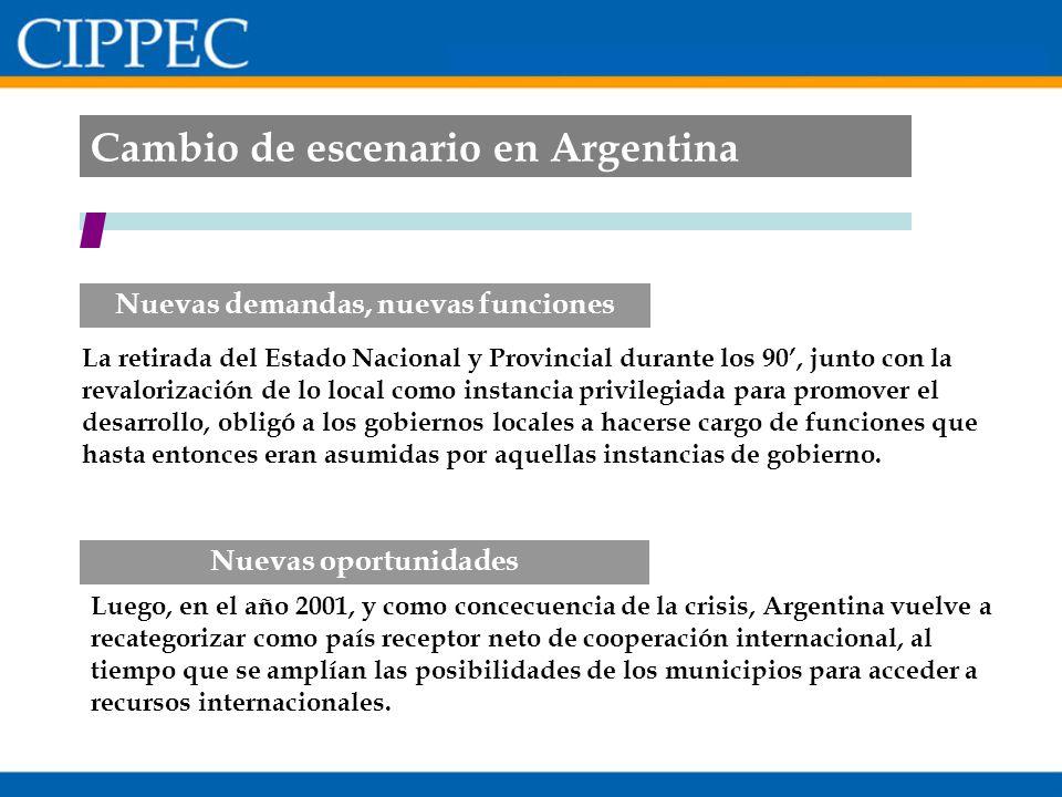 Cambio de escenario en Argentina Luego, en el año 2001, y como concecuencia de la crisis, Argentina vuelve a recategorizar como país receptor neto de