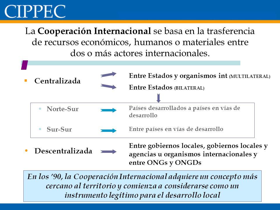 La Cooperación Internacional se basa en la trasferencia de recursos económicos, humanos o materiales entre dos o más actores internacionales. Centrali