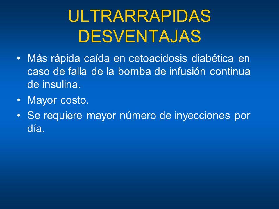 ULTRARRAPIDAS DESVENTAJAS Más rápida caída en cetoacidosis diabética en caso de falla de la bomba de infusión continua de insulina. Mayor costo. Se re