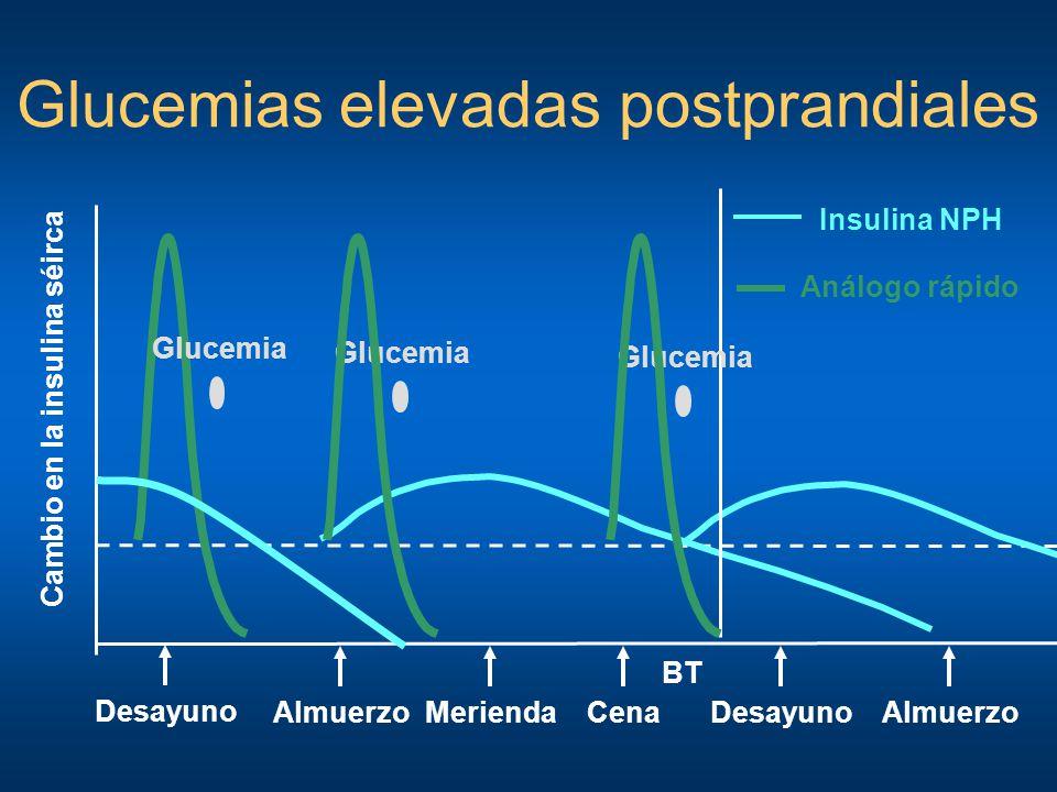 Glucemias elevadas postprandiales Desayuno Cambio en la insulina séirca AlmuerzoCenaMeriendaDesayuno BT Insulina NPH Almuerzo Análogo rápido Glucemia