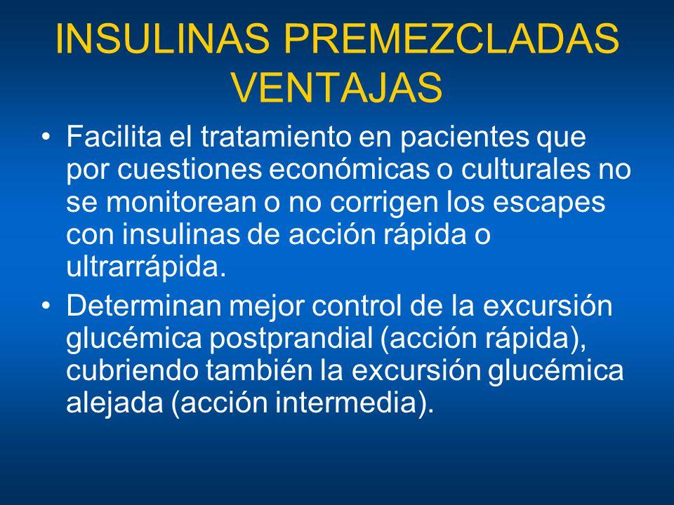 INSULINAS PREMEZCLADAS VENTAJAS Facilita el tratamiento en pacientes que por cuestiones económicas o culturales no se monitorean o no corrigen los esc