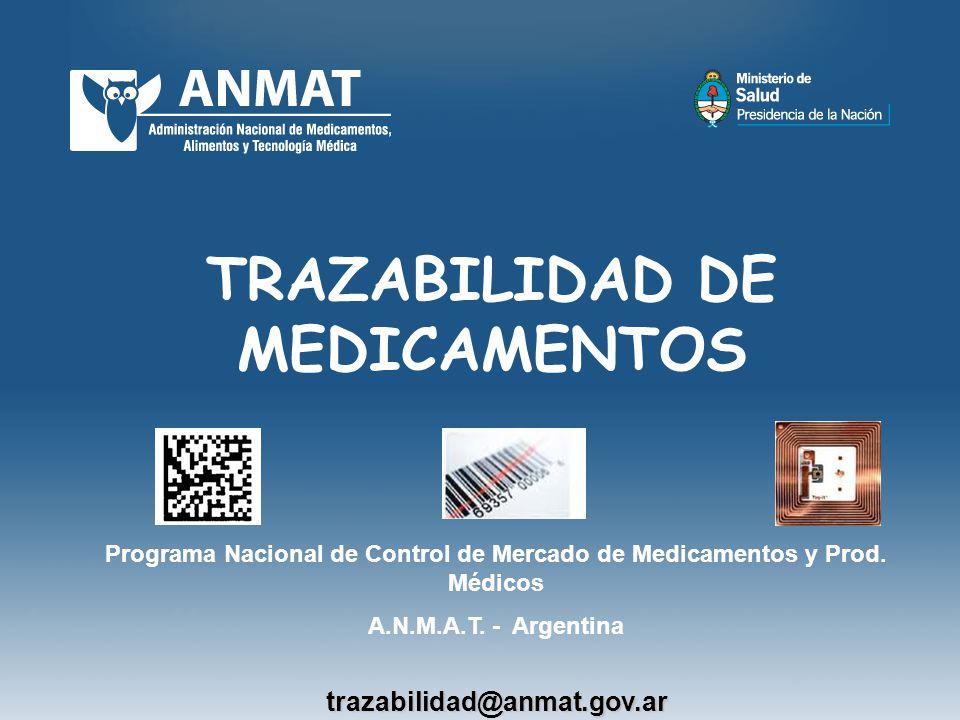 TRAZABILIDAD DE MEDICAMENTOS Programa Nacional de Control de Mercado de Medicamentos y Prod. Médicos A.N.M.A.T. - Argentinatrazabilidad@anmat.gov.ar