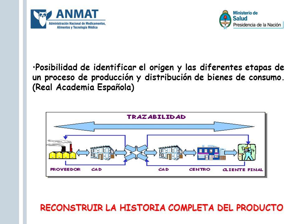 Posibilidad de identificar el origen y las diferentes etapas de un proceso de producción y distribución de bienes de consumo. (Real Academia Española)