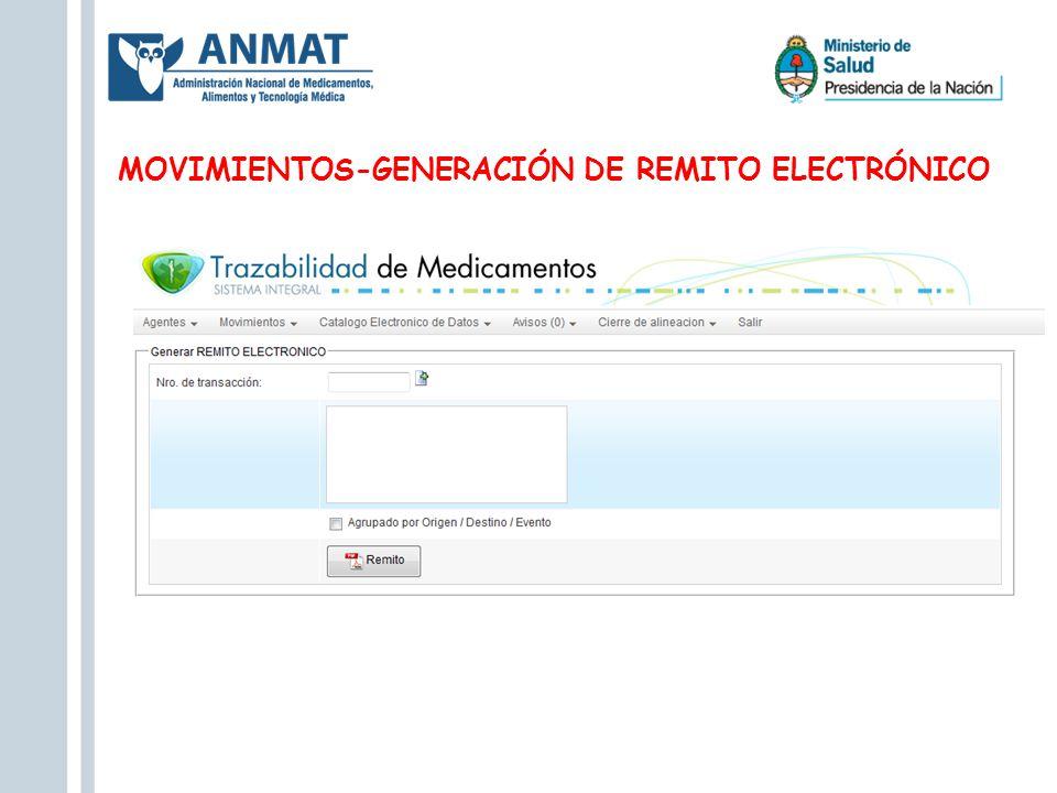 MOVIMIENTOS-GENERACIÓN DE REMITO ELECTRÓNICO