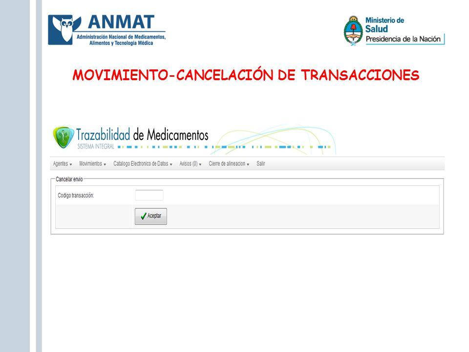 MOVIMIENTO-CANCELACIÓN DE TRANSACCIONES