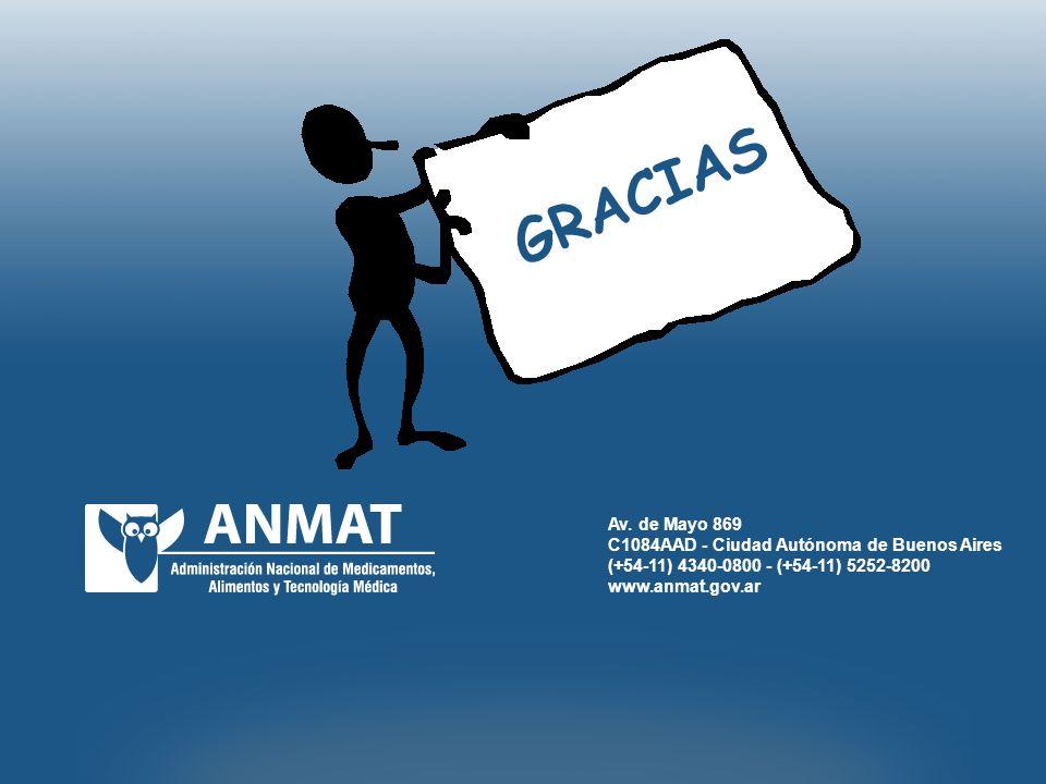 Av. de Mayo 869 C1084AAD - Ciudad Autónoma de Buenos Aires (+54-11) 4340-0800 - (+54-11) 5252-8200 www.anmat.gov.ar GRACIAS