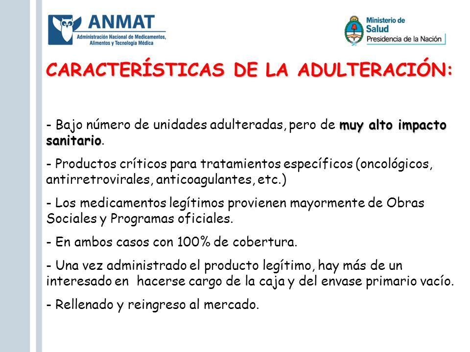 CARACTERÍSTICAS DE LA ADULTERACIÓN: muy alto impacto sanitario - Bajo número de unidades adulteradas, pero de muy alto impacto sanitario. - Productos