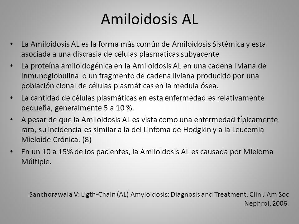 Amiloidosis AL La Amiloidosis AL es la forma más común de Amiloidosis Sistémica y esta asociada a una discrasia de células plasmáticas subyacente La p