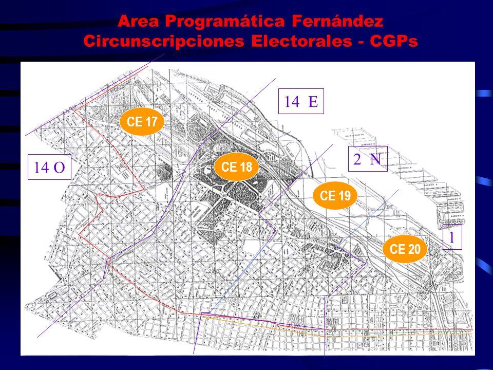 Area Programática Fernández Circunscripciones Electorales - CGPs 14 O 14 E 2 N 1 CE 17 CE 18 CE 19 CE 20