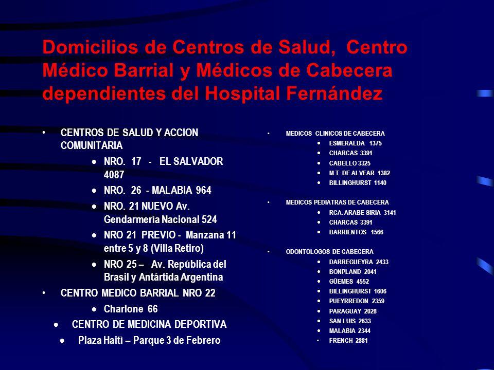 Domicilios de Centros de Salud, Centro Médico Barrial y Médicos de Cabecera dependientes del Hospital Fernández CENTROS DE SALUD Y ACCION COMUNITARIA