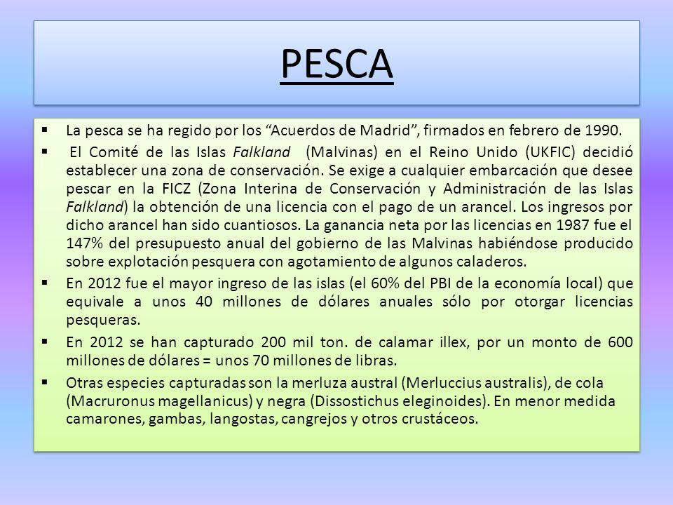 PESCA La pesca se ha regido por los Acuerdos de Madrid, firmados en febrero de 1990. El Comité de las Islas Falkland (Malvinas) en el Reino Unido (UKF