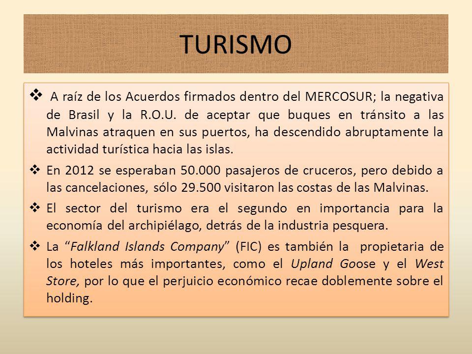 TURISMO A raíz de los Acuerdos firmados dentro del MERCOSUR; la negativa de Brasil y la R.O.U. de aceptar que buques en tránsito a las Malvinas atraqu