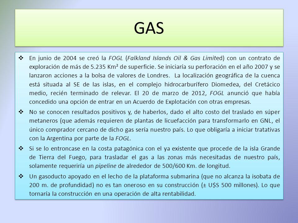 GAS En junio de 2004 se creó la FOGL (Falkland Islands Oil & Gas Limited) con un contrato de exploración de más de 5.235 Km² de superficie. Se iniciar