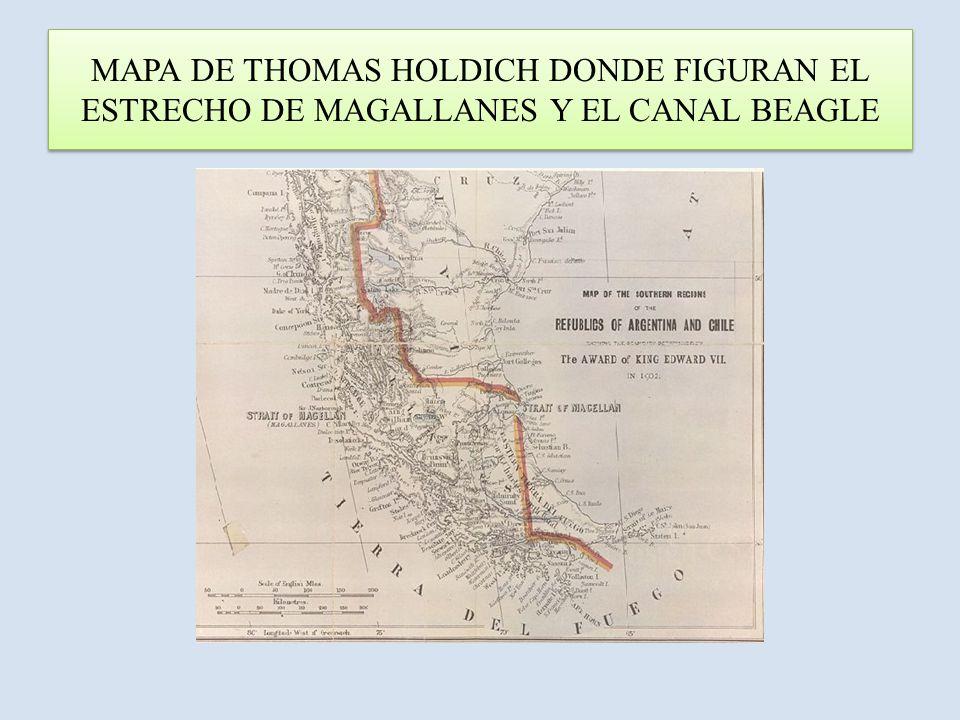 ACOTACIONES AL MAPA ANTERIOR Mapa reproducido en la obra Los Países del Premio del Rey , escrita inmediatamente después de su trabajo sobre el arbitraje británico de 1898 – 1902 en el límite argentino – chileno de acuerdo al Tratado firmado por ambos Estados en el año 1881.