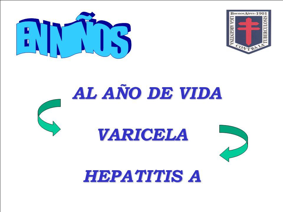 AL AÑO DE VIDA VARICELA HEPATITIS A