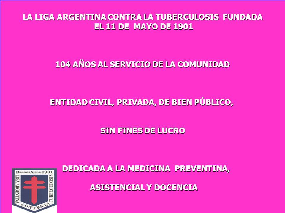 LA LIGA ARGENTINA CONTRA LA TUBERCULOSIS FUNDADA EL 11 DE MAYO DE 1901 EL 11 DE MAYO DE 1901 104 AÑOS AL SERVICIO DE LA COMUNIDAD ENTIDAD CIVIL, PRIVADA, DE BIEN PÚBLICO, SIN FINES DE LUCRO SIN FINES DE LUCRO DEDICADA A LA MEDICINA PREVENTINA, DEDICADA A LA MEDICINA PREVENTINA, ASISTENCIAL Y DOCENCIA ASISTENCIAL Y DOCENCIA
