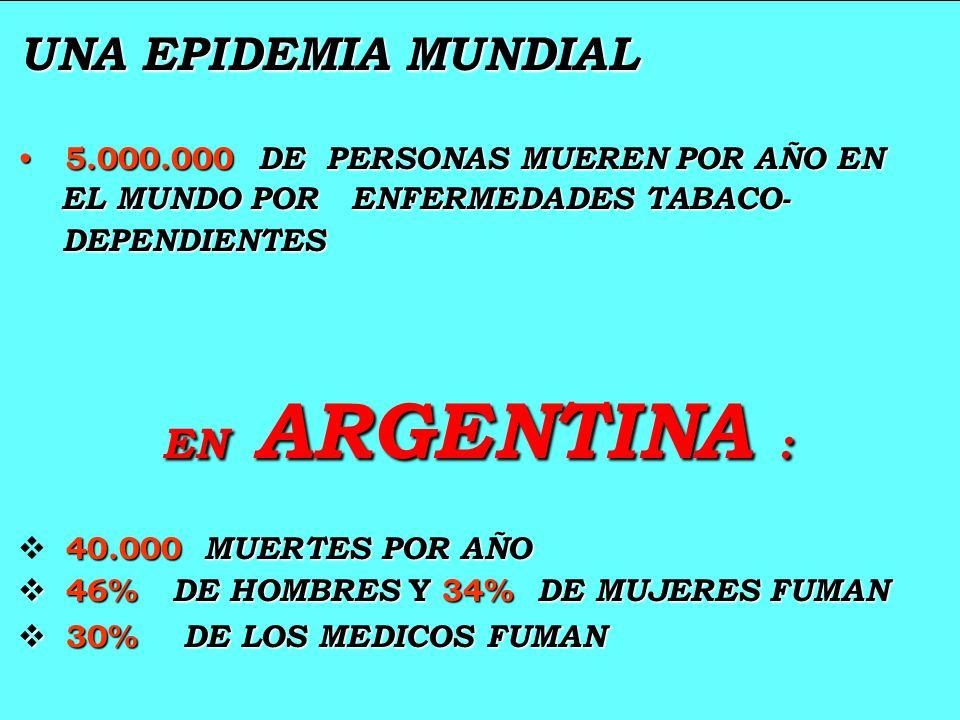 UNA EPIDEMIA MUNDIAL UNA EPIDEMIA MUNDIAL 5.000.000 DE PERSONAS MUEREN POR AÑO EN 5.000.000 DE PERSONAS MUEREN POR AÑO EN EL MUNDO POR ENFERMEDADES TA