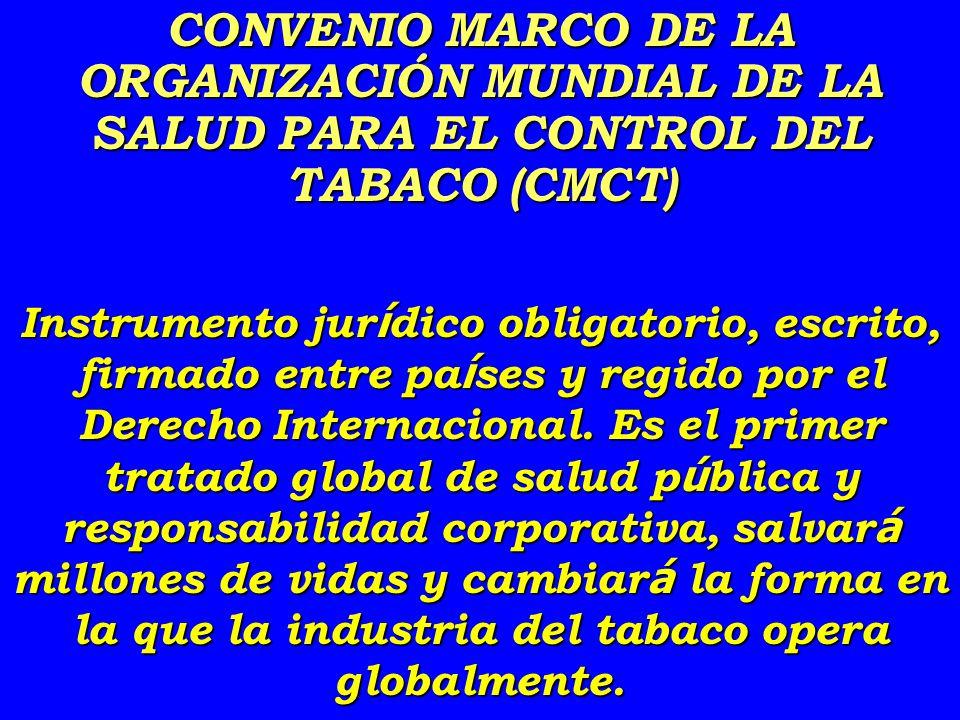 CONVENIO MARCO DE LA ORGANIZACIÓN MUNDIAL DE LA SALUD PARA EL CONTROL DEL TABACO (CMCT) Instrumento jur í dico obligatorio, escrito, firmado entre pa í ses y regido por el Derecho Internacional.