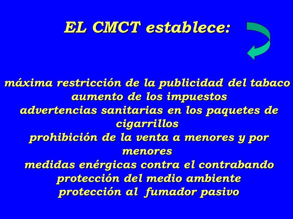 EL CMCT establece: máxima restricción de la publicidad del tabaco aumento de los impuestos advertencias sanitarias en los paquetes de cigarrillos prohibición de la venta a menores y por menores medidas enérgicas contra el contrabando protección del medio ambiente protección al fumador pasivo
