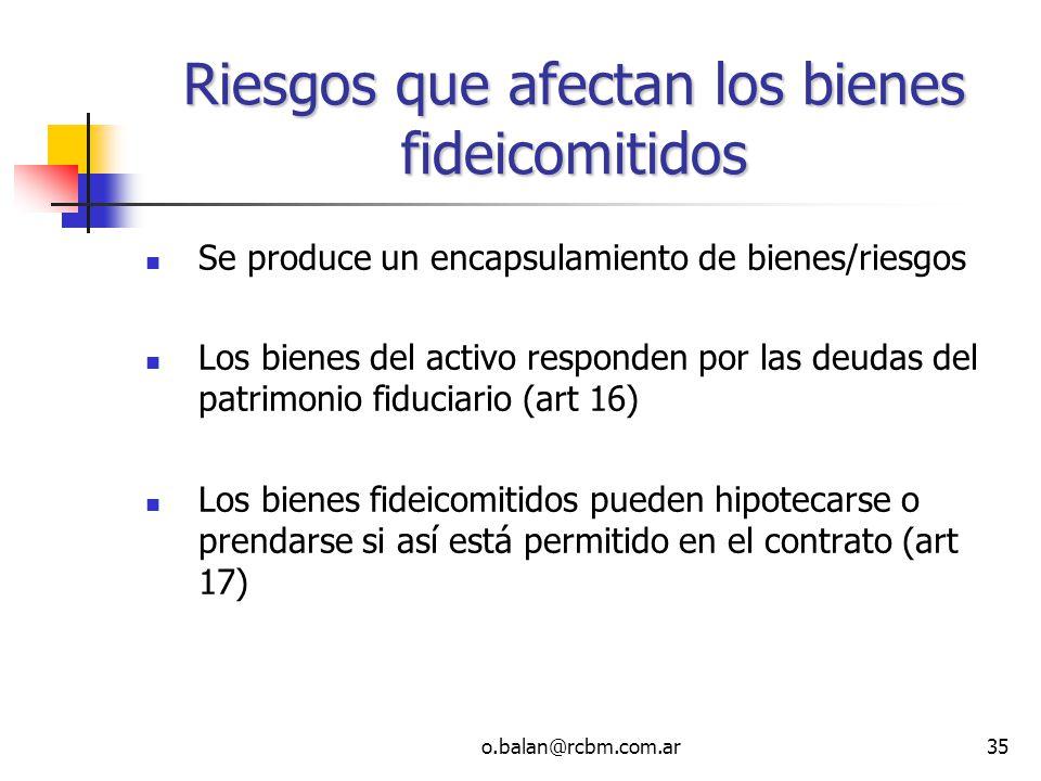 o.balan@rcbm.com.ar35 Riesgos que afectan los bienes fideicomitidos Se produce un encapsulamiento de bienes/riesgos Los bienes del activo responden po