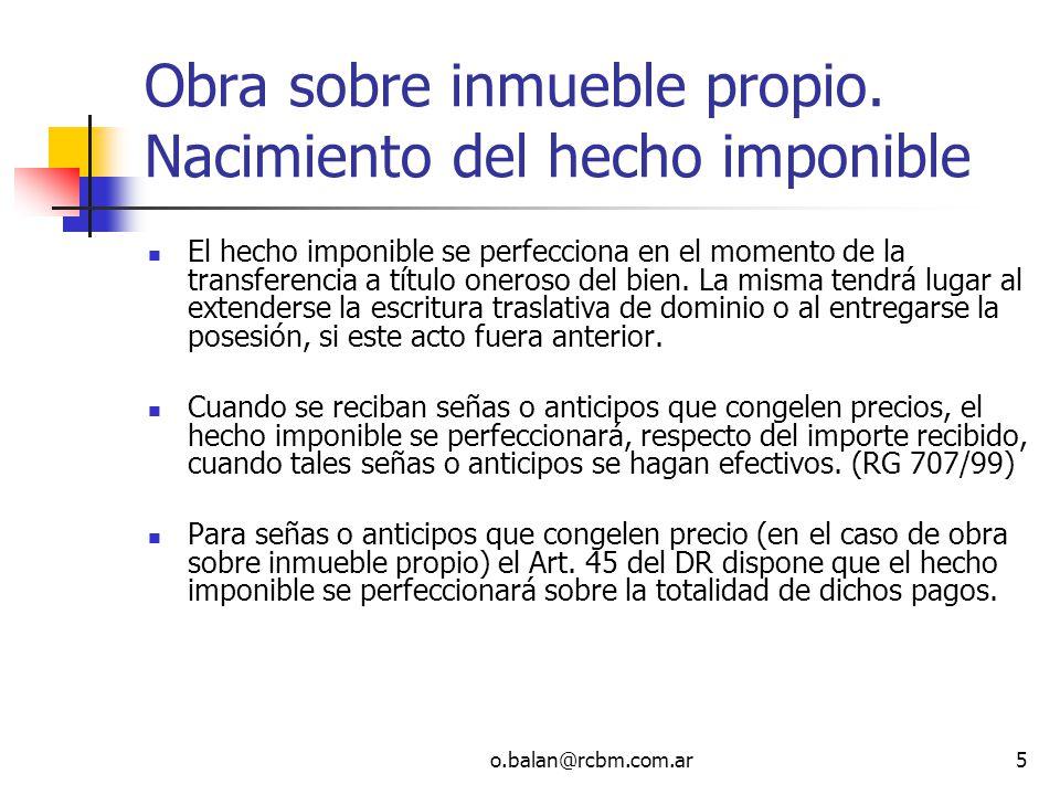 o.balan@rcbm.com.ar56 Onerosidad - DICTAMEN N° 103/2001 DICTAMEN DAT 17/2002 Dictamen DAT 55/2005