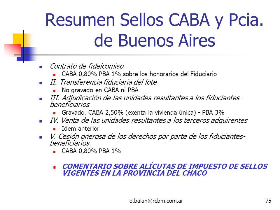 o.balan@rcbm.com.ar75 Resumen Sellos CABA y Pcia. de Buenos Aires Contrato de fideicomiso CABA 0,80% PBA 1% sobre los honorarios del Fiduciario II. Tr