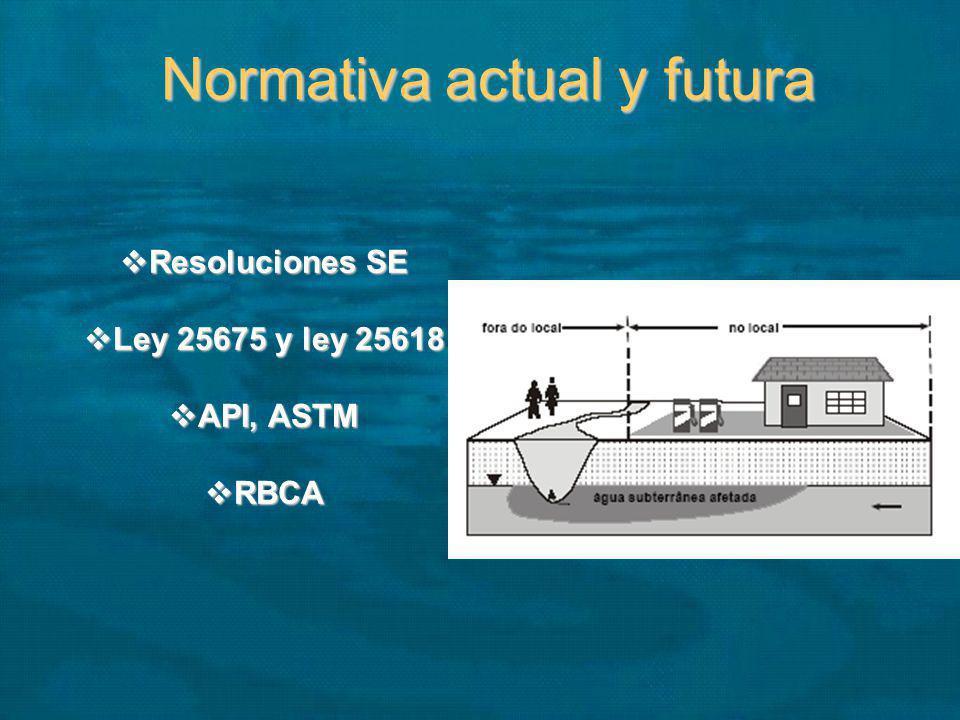 Normativa actual y futura Resoluciones SE Resoluciones SE Ley 25675 y ley 25618 Ley 25675 y ley 25618 API, ASTM API, ASTM RBCA RBCA