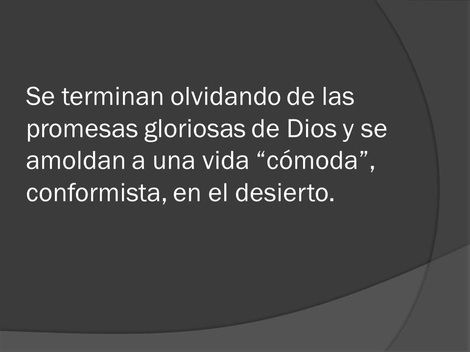 Se terminan olvidando de las promesas gloriosas de Dios y se amoldan a una vida cómoda, conformista, en el desierto.