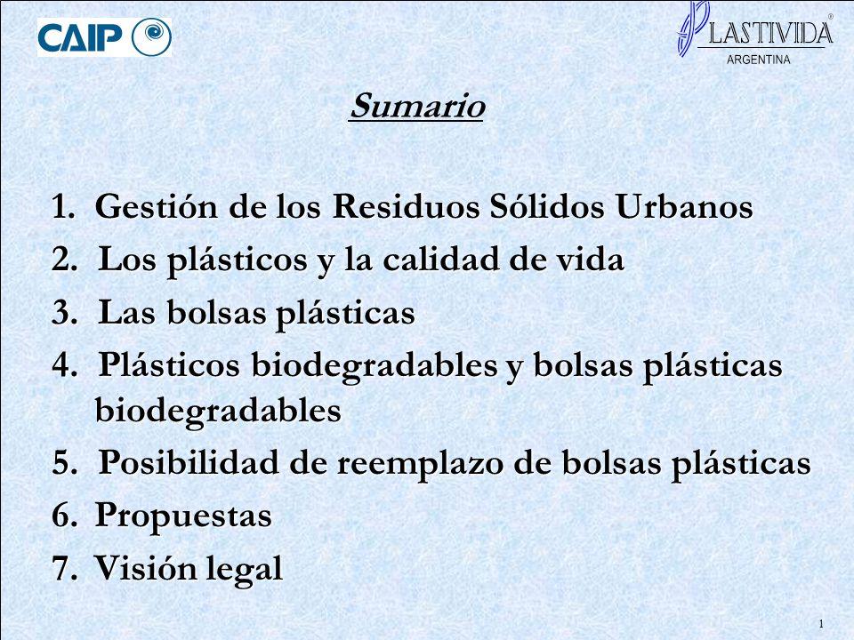 1 Sumario 1.Gestión de los Residuos Sólidos Urbanos 2. Los plásticos y la calidad de vida 3. Las bolsas plásticas 4. Plásticos biodegradables y bolsas