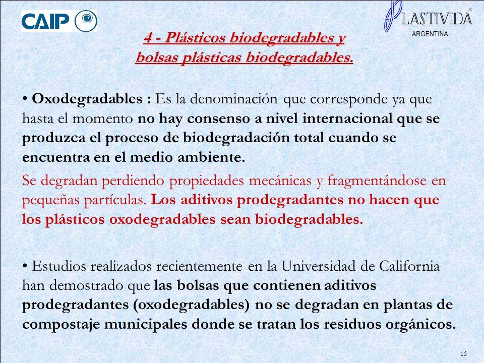 15 Oxodegradables : Es la denominación que corresponde ya que hasta el momento no hay consenso a nivel internacional que se produzca el proceso de bio