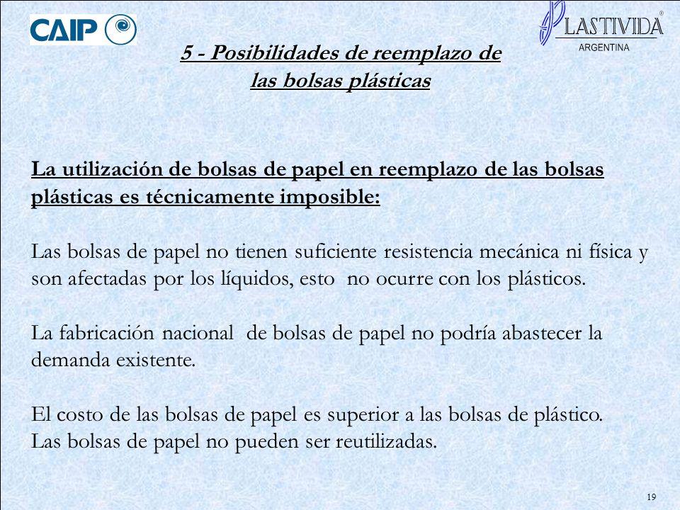 19 5 - Posibilidades de reemplazo de las bolsas plásticas La utilización de bolsas de papel en reemplazo de las bolsas plásticas es técnicamente impos