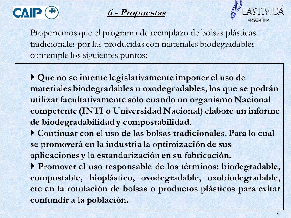 24 6 - Propuestas Proponemos que el programa de reemplazo de bolsas plásticas tradicionales por las producidas con materiales biodegradables contemple