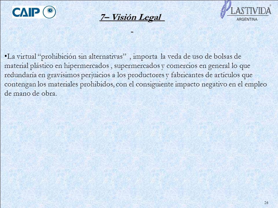 26 7– Visión Legal La virtual prohibición sin alternativas, importa la veda de uso de bolsas de material plástico en hipermercados, supermercados y co