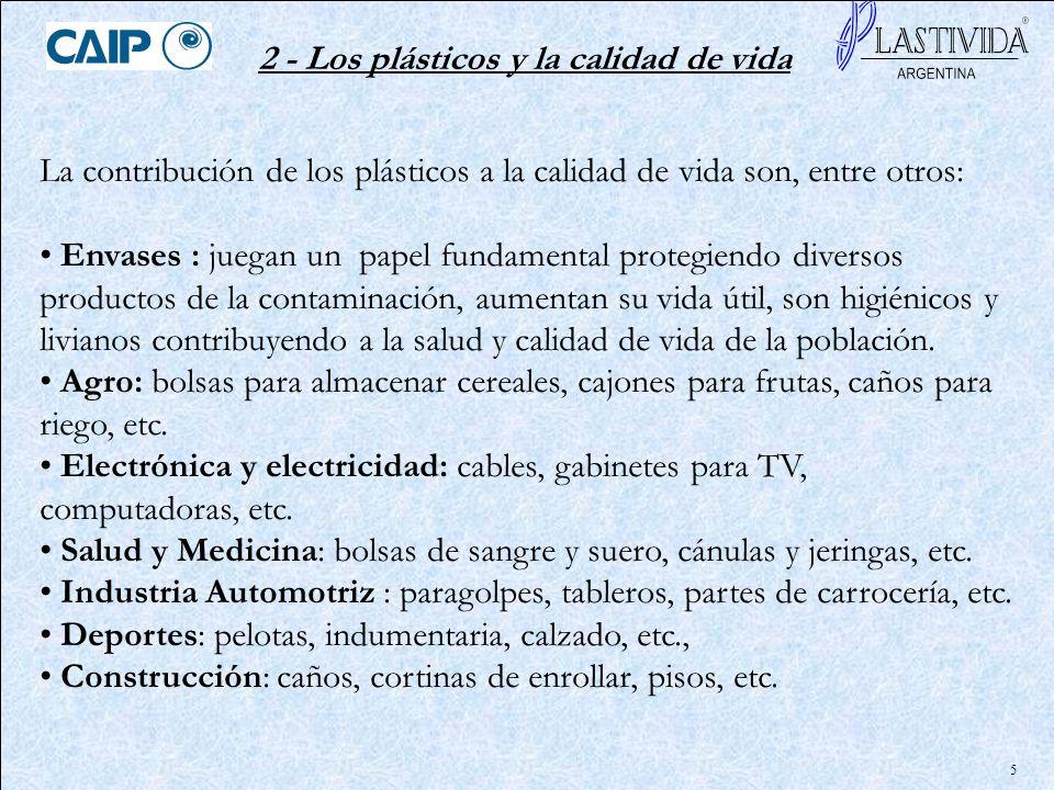 5 2 - Los plásticos y la calidad de vida La contribución de los plásticos a la calidad de vida son, entre otros: Envases : juegan un papel fundamental