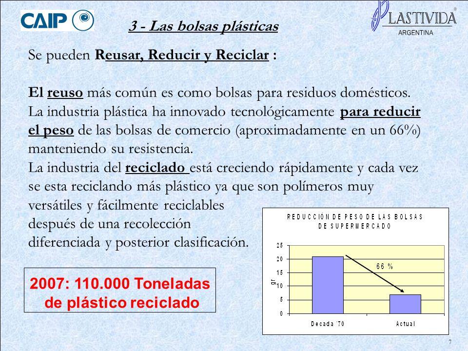 7 Se pueden Reusar, Reducir y Reciclar : El reuso más común es como bolsas para residuos domésticos. La industria plástica ha innovado tecnológicament