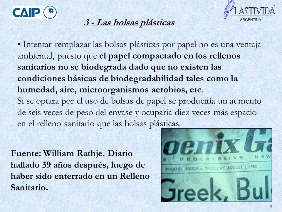 9 Intentar remplazar las bolsas plásticas por papel no es una ventaja ambiental, puesto que el papel compactado en los rellenos sanitarios no se biode
