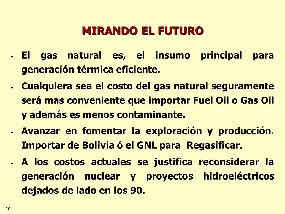 10 MIRANDO EL FUTURO El gas natural es, el insumo principal para generación térmica eficiente.