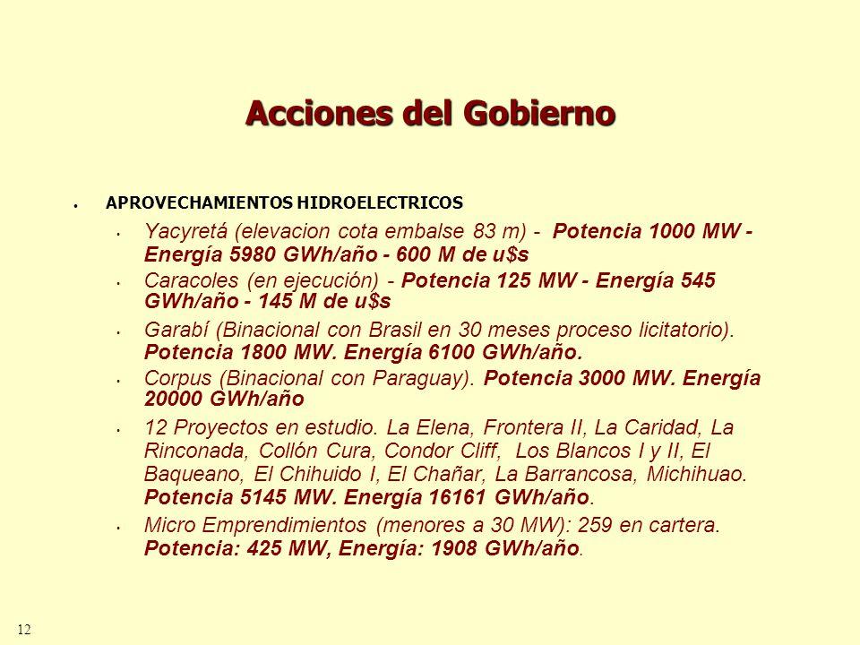 12 Acciones del Gobierno APROVECHAMIENTOS HIDROELECTRICOS Yacyretá (elevacion cota embalse 83 m) - Potencia 1000 MW - Energía 5980 GWh/año - 600 M de u$s Caracoles (en ejecución) - Potencia 125 MW - Energía 545 GWh/año - 145 M de u$s Garabí (Binacional con Brasil en 30 meses proceso licitatorio).