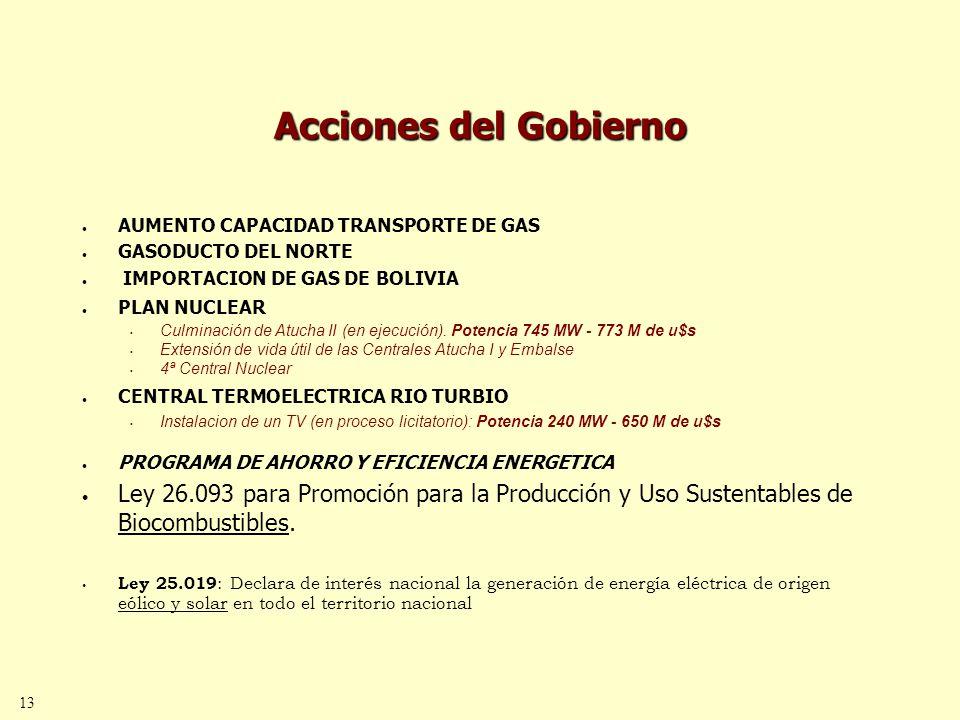 13 Acciones del Gobierno AUMENTO CAPACIDAD TRANSPORTE DE GAS GASODUCTO DEL NORTE IMPORTACION DE GAS DE BOLIVIA PLAN NUCLEAR Culminación de Atucha II (en ejecución).