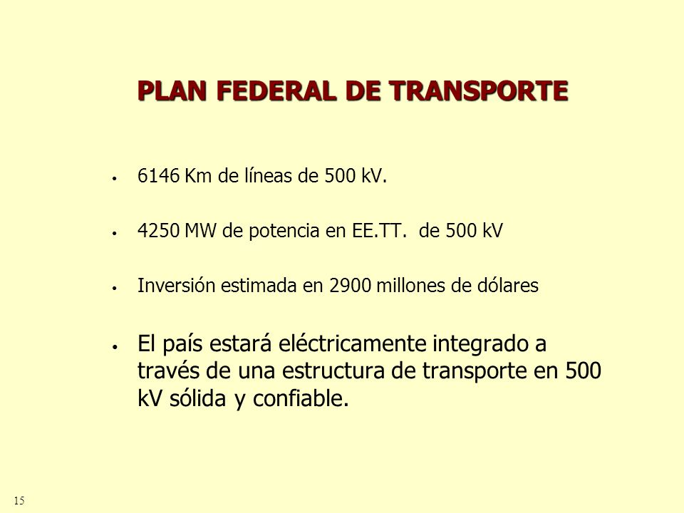 15 PLAN FEDERAL DE TRANSPORTE 6146 Km de líneas de 500 kV.
