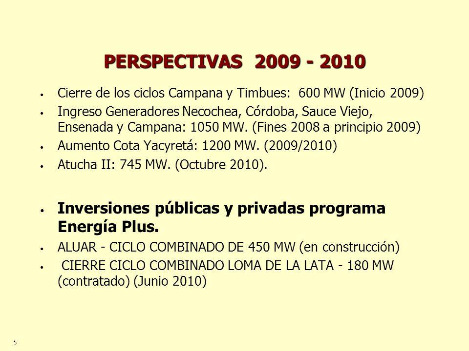 6 PERSPECTIVAS 2009 – 2010 GUEMES - 1 TG MODELO LM S DE 100 MW EFICIENCIA DE 47 % (contratado) (fines del 2008) PILAR - CICLO COMBINADO DE 510 MW (en licitación) MAR DEL PLATA - CICLO COMBINADO DE 185 MW (licitación abierta) VILLA GESELL - 1 TG DE 60/75 MW (licitación abierta) CIERRE CICLO COMBINADO PLUSPETROL - 120 MW (en estudio) CICLO COMBINADO DOLAVON 400 MW(en estudio)