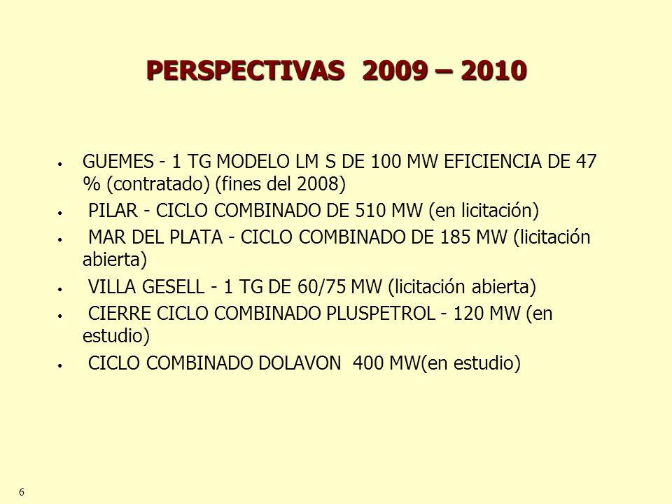 7 PERSPECTIVAS 2009 - 2010 Incremento de oferta mayor a 4200 MW Incremento Demanda: 2500 MW.