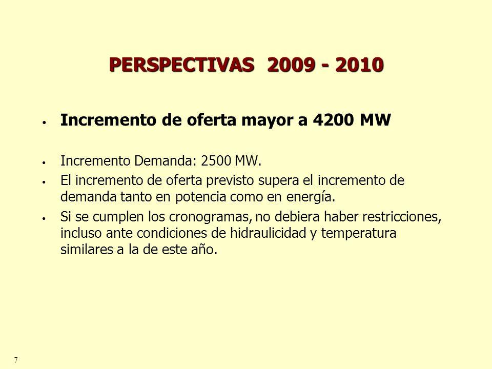 7 PERSPECTIVAS 2009 - 2010 Incremento de oferta mayor a 4200 MW Incremento Demanda: 2500 MW. El incremento de oferta previsto supera el incremento de