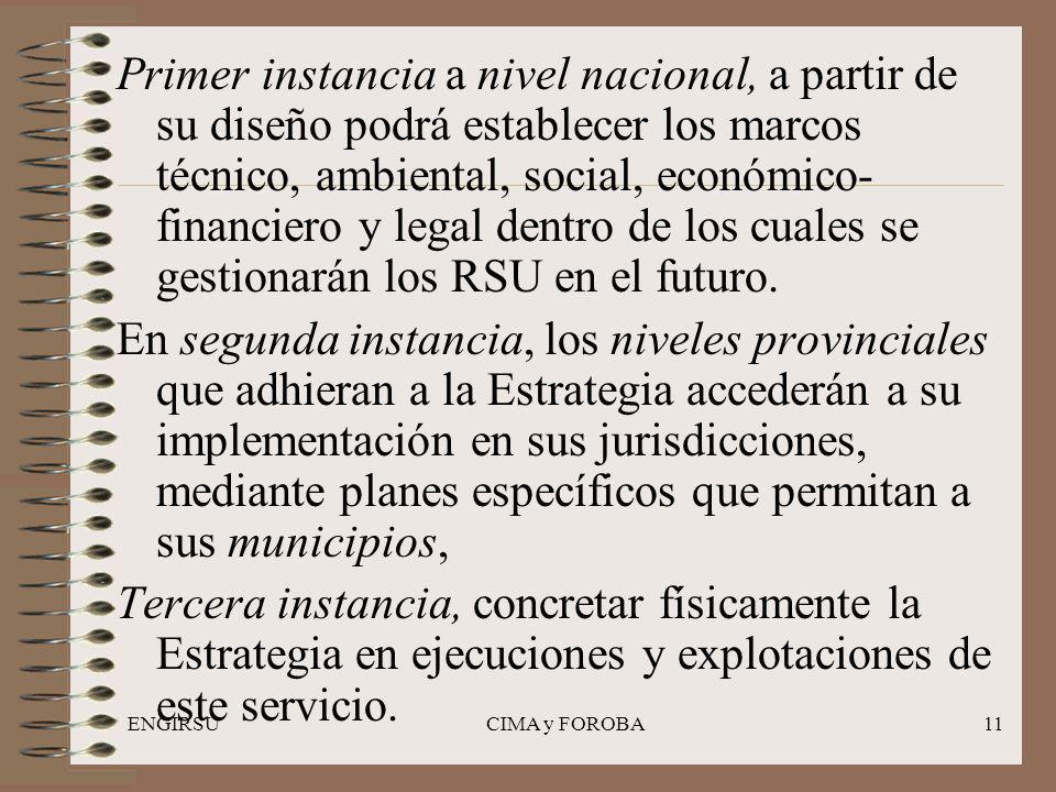 ENGIRSUCIMA y FOROBA11 Primer instancia a nivel nacional, a partir de su diseño podrá establecer los marcos técnico, ambiental, social, económico- financiero y legal dentro de los cuales se gestionarán los RSU en el futuro.